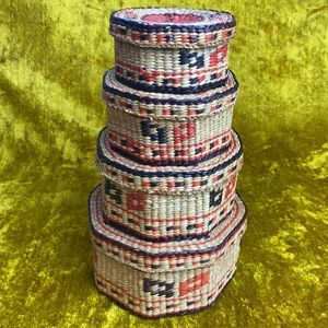 Wicker Woven Black Red Western Pattern Stacking Russian Doll Baskets with Lids